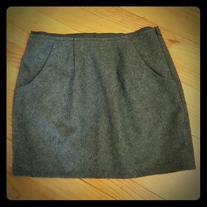 J. Crew Gray Wool Skirt with Pockets, Size 0, NWT